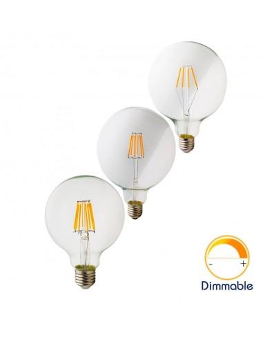 Светодиодная филаментная лампа G125 Retro E27 4W 6W 8W
